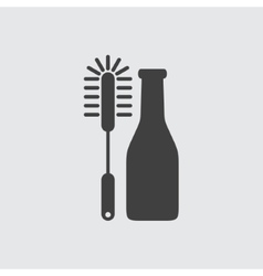 Bottle cleaning brush icon vector