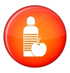 Bottle of water and apple icon flat style vector