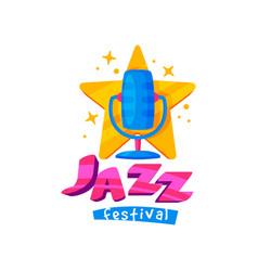 bright emblem for jazz festival colorful emblem vector image