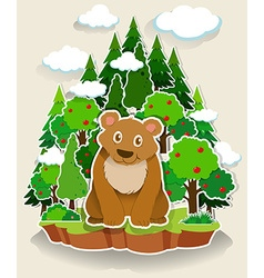 Brown bear sitting in the forest vector