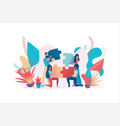 Business team assemble a puzzle teamwork metaphor vector