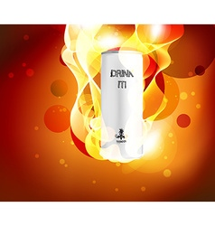 Can of Drink with Flaming Background vector