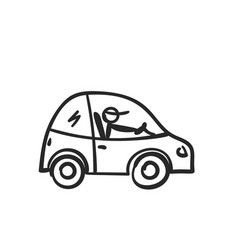 cartoon car with stick figure driver doodle style vector image