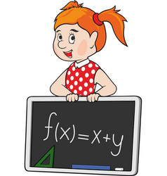 cartoon red haired school girl vector image
