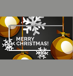 christmas balls happy new year banner black vector image