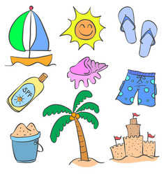 Collection of summer holiday doodle style vector