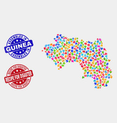 Component republic guinea map and grunge vector