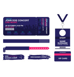 concert ticket bracelets lanyards identification vector image