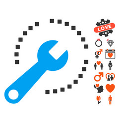 Configure diagram icon with valentine bonus vector