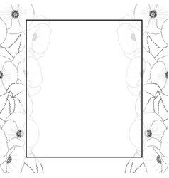 Corn poppy outline banner card border vector