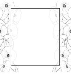 corn poppy outline banner card border vector image