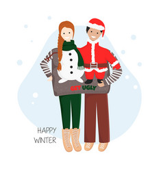 Couple in one ugly sweater vector
