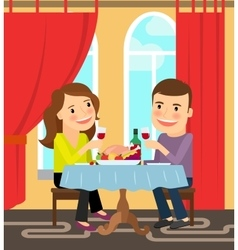 Couple sitting at table celebrating vector