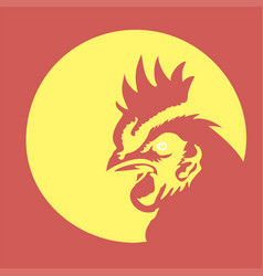 creative rooster with circle line logo concept vector image