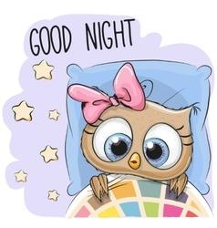 Cute Cartoon Sleeping Owl vector