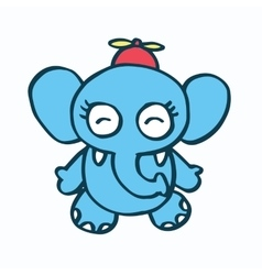 Cute elephant cartoon and propeller vector
