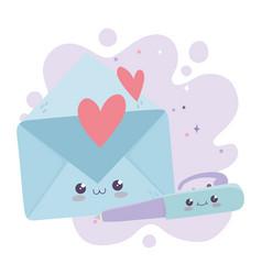 Cute envelope mail and pen love kawaii cartoon vector
