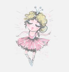 Cute girl ballerina surface design for kids vector