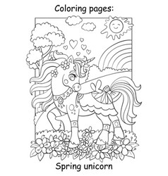 cute spring unicorn with flowers coloring vector image