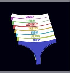 days of the week woman panties set vector image