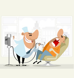 dentist and his patient vector image