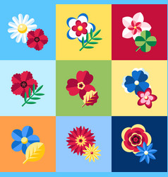 Digital blue flowers set icons vector