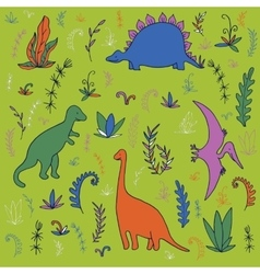 Dinosaurs and prehistoric plants vector