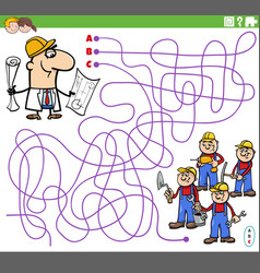 Educational maze game with cartoon architect vector