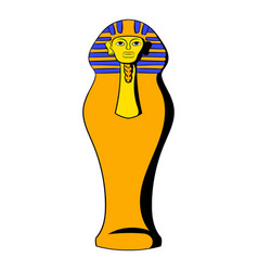 Egyptian pharaoh sarcophagus icon cartoon vector