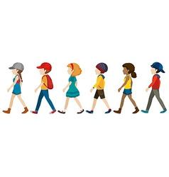 Faceless teenagers walking vector