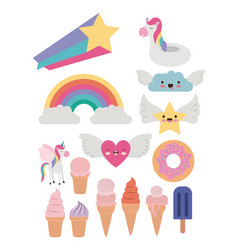 fantasy set of donut and cloud and heart and star vector image