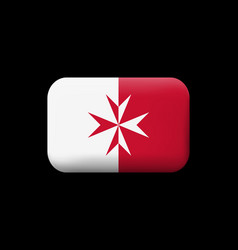 Flag of malta version with maltese cross matted vector