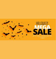 flat style halloween mega sale yellow banner vector image