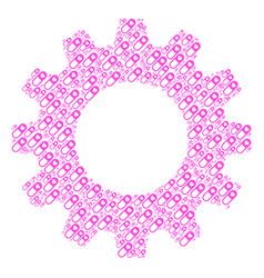 Gearwheel mosaic of love granule icons vector