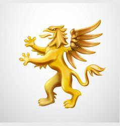 Golden heraldic griffin emblem vector