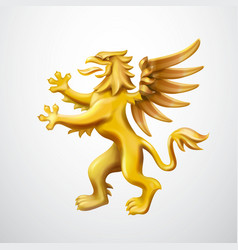 golden heraldic griffin emblem vector image