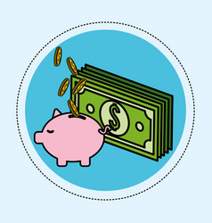 Green bill with coins save in the pig vector