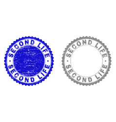 Grunge second life scratched stamp seals vector