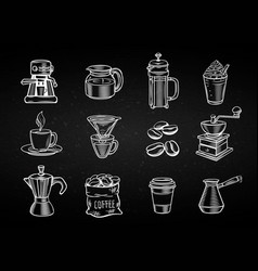 Hand drawn decorative coffee icons set vector