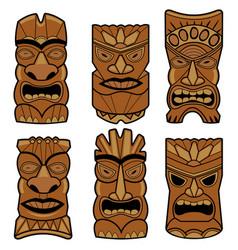 hawaiian tiki statue masks vector image