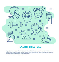 Healthy lifestyle concept banner in line style vector