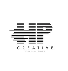 hp h p zebra letter logo design with black and vector image