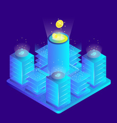 isometric 3d currency mining bitcoin server room vector image