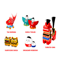 Japanese folk toys set ii vector