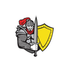 Knight Full Armor Open Visor Sword Shield Retro vector