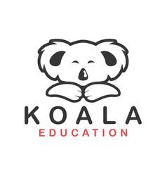 Koala animal cute kids character logo design vector