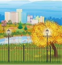 landscape autumn city park cityscape vector image