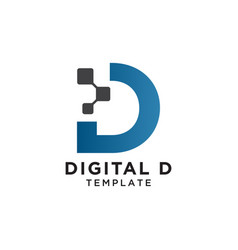 letter d pixels logo initial design template vector image