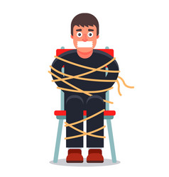 Man was kidnapped and tied up in a chair vector