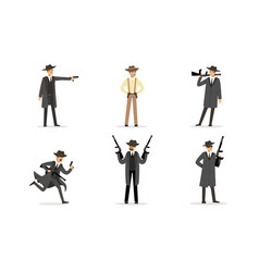 Men in suits gangsters vector